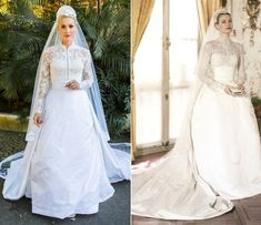 Vestido de noiva de Sandra em 'Êta Mundo Bom!' foi inspirado no usado por Grace Kelly em 1956 (Foto: Ellen Soares/Gshow/Reprodução)