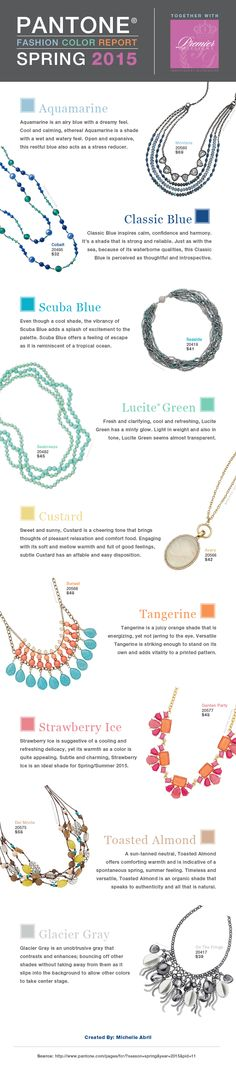 Pantone's Spring 2015 Color Report combined with Premier Designs jewelry. #PremierDesignsJewelry #Spring2015 #Pantone