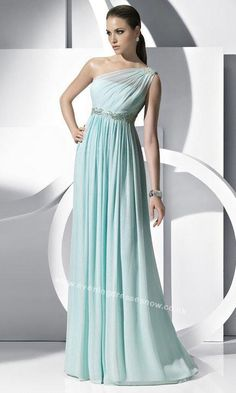 One Shoulder Pleated A Line Long Dress
