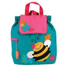 Personalized Stephen Joseph Bee Quilted Backpack. Boy Diaper BagsDiaper Bag  BackpackLittle Girl BackpackPersonalized Toddler ... b06e71e04d74c