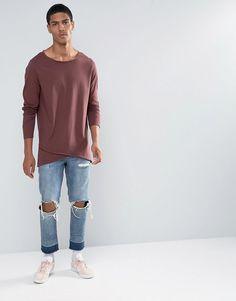 ASOS | ASOS Longline Long Sleeve T-Shirt With Cross Over Hem at ASOS
