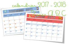 calendrier 2017 2018, zone A B C