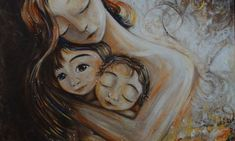 mother and child art - moments of motherhood captured in paint on canvas. Original art for sale, featuring mother and son, mother and daughter, family portraits and emotion. Second Child, Mother And Child, Mother Art, Mothers Love, Cuddling, Art For Kids, Illustration, Original Paintings, Art Prints