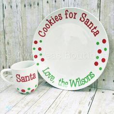 Santa Cookie Plate  Cookies for Santa  by Two2PeasBoutique on Etsy