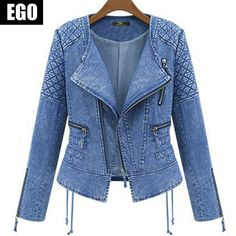 2015 printemps eté New Vintage bleu veste courte Denim mode chaude Outwear à glissière femmes Jeans veste manteau s,ML Xl