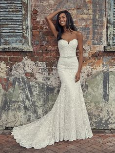 This romantic lace fit-and-flare strapless wedding dress is complete with a sweetheart neckline. Finished with covered buttons over zipper closure. Source by katjabrandi wedding dress Strapless Lace Wedding Dress, Fit And Flare Wedding Dress, Sweetheart Wedding Dress, Bridal Dresses, Wedding Gowns, Lace Dress, Strapless Sweetheart Neckline, Wedding Dress With Belt, Form Fitting Wedding Dresses
