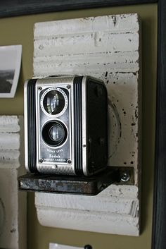 Display for vintage camera with architectural molding pieces DIY