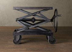Metal Scissors Lift Table - Love the crank! Anyway I could put this on a rectangular dining table?