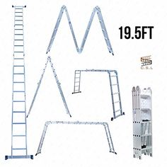 CSL195Ft Aluminum Multi Purpose Ladder Telescoping Telescopic Extension Folding -- Find out more about the great product at the image link.