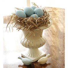 Robin's egg nest in urn