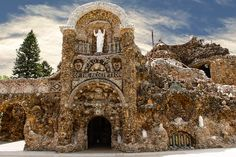 West Bend, Iowa: The Grotto of the Redemption. The grotto is the artistic work of Father Paul Matthias Dobberstein, a German immigrant and priest. The Grotto fulfills his promise to build a shrine to Our Lady in response to her intercession during a bout with pneumonia. The Grotto is carved and constructed from natural stones which took over a decade to gather.