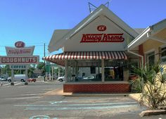 Historic Krispy Kreme in Pensacola, FL. This building was torn down and replaced with a new one. Sad. Still the best doughnuts though!