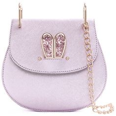Sequined Rabbit Ear Chains Crossbody Bag ($30) ❤ liked on Polyvore featuring bags, handbags, shoulder bags, rabbit fur handbag, pink crossbody purse, chain shoulder bag, pink cross body purse and pink handbags