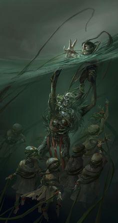 Fantasy art monster art, creepy art y fantasy art. Dark Fantasy Art, Fantasy Kunst, Fantasy Artwork, Monster Concept Art, Fantasy Monster, Monster Art, Arte Horror, Horror Art, Creepy Horror
