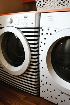 Use electrical tape to make over your washing machines. | 42 Ingeniously Easy Ways To Hide The Ugly Stuff In Your Home