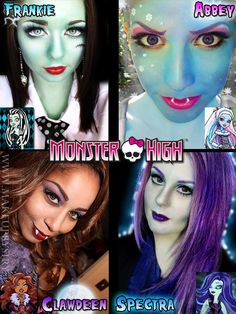 monster high makeup: Clawdeen,Abbey,Frankie, and Spectra Monster High Halloween, Monster High Birthday, Monster High Party, Monster High Dolls, Theme Halloween, Halloween Costumes For Kids, Halloween Make Up, Halloween Face Makeup, Doll Makeup