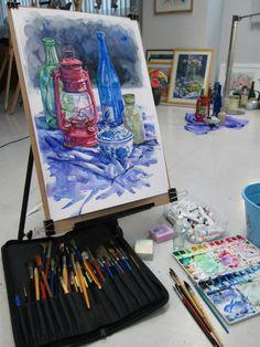 "Artist Chanvit Panthong tool and art work "" Still Life no.1"" Favini paper 300g. 35x55 cm. Wet on dry Techniques,Thailand https://www.facebook.com/chanvit.panthong"