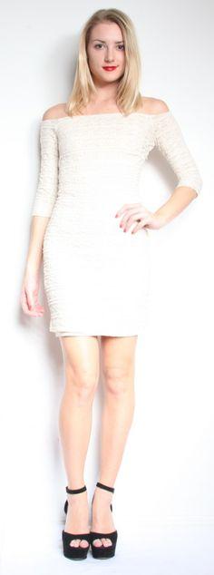 Torn Eva Short Lace Dress - Ivory $222