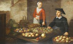 Floris Van Schooten: 'The Fruit Market' On Two Oak Panels/Boards