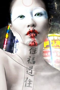 Cyborg Geisha on Behance Cyberpunk Girl, Arte Cyberpunk, Cyberpunk 2077, Geisha Drawing, Geisha Art, Geisha Japan, Fantasy Makeup, Fantasy Art, Arte Fashion