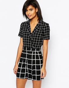 Image 1 of ASOS Mono Check Playsuit with Wrap Front
