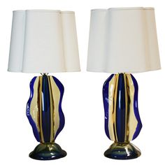 Pair of Sculptural Murano Lamps Attributed to Luciano Gaspari for Salviati
