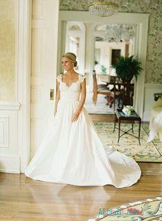 customize  simple taffeta wedding dress with pockets