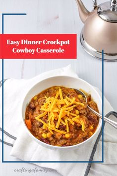 Crockpot Cowboy Casserole, super easy dinner you can start in the morning and have ready at the end of a busy day. Kid friendly loaded with veggies. Delicious cheesy easy family meal New Recipes For Dinner, Dinner Recipes Easy Quick, Easy Dinners, Top Recipes, Easy Recipes, Crockpot Cowboy Casserole, Super Easy Dinner, Healthy Family Meals, Stuffed Sweet Peppers