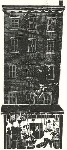 Antonio Frasconi, The Fulton Fish Market wood block print, 1953 Wood Engraving Tools, Engraving Art, Engraving Ideas, Tampons, Linocut Prints, Collage, Woodblock Print, Wood Blocks, Printmaking