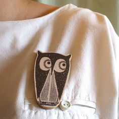 Tito The Owl Wooden Brooch by lucie0ellen on Etsy, £7.00
