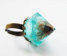 Nautical Statement Ring Turquoise Aqua Contemporary Resin Jewelry Diamond Seashell Nature Rock OOAK via Etsy