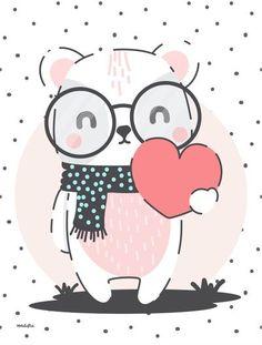 I heart you Cute Cartoon Animals, Cute Animals, Baby Posters, Kids Prints, Cute Images, Art Wall Kids, Cute Pattern, Nursery Prints, Baby Decor