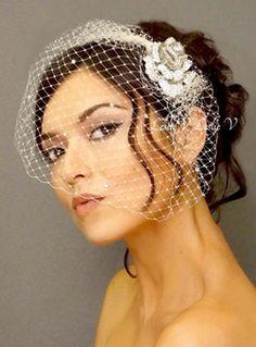 Crystal Rose Brooch & Petite Rhinestone Bridal Birdcage Veil