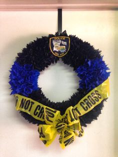 """""""thin blue line"""" wreath I made for my department's lobby. *sorry no link*"""