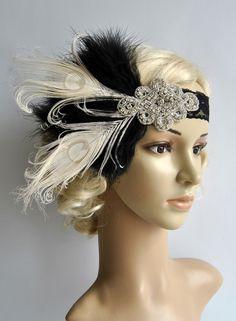Flapper Lace Rhinestone Feather Headband, 1920's,Feather, Lace flapper costume, black, silver, Great Gatsby Headpiece Headband by BlueSkyHorizons on Etsy https://www.etsy.com/listing/228293916/flapper-lace-rhinestone-feather-headband