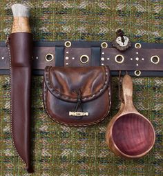 Saami inspired belt and equipment. Left to right:  leuke leather pouch kuksa.
