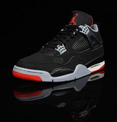 The Air Jordan IV 'Bred' Men Shoes  The Air Jordan IV 'Bred'is an original colorway of Michael Jordan's fourth signature sneaker, one that is set to release once again in 2012. The 'Bred' nickname is a combination of black and red, the two dominating shades on the classic sneaker. The Air Jordan IV 'Bred' is set to follow up the Air Jordan III 'Black/Cement' as this year's Black Friday release. Take a look at out the full set of photos