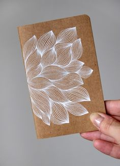Hand drawn flower on Moleskine Cahier. Want to embroider on a Moleskine like this. Doodle Drawing, Doodle Art, Paper Drawing, Leaf Drawing, Posca Art, Hand Drawn Flowers, Zentangle Patterns, Zentangles, Pen Art
