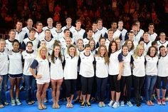 Jul 2, 2012; Omaha, NE, USA; The U.S. Olympic swimming team poses for photos during the closing ceremonies of the 2012 U.S. Olympic swimming team trials at the CenturyLink Center. Mandatory Credit: Matt Ryerson-US PRESSWIRE