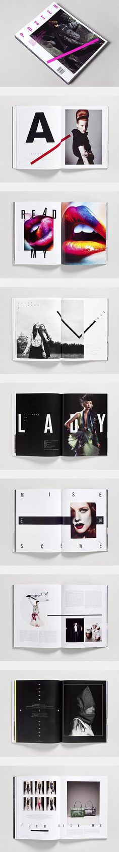 Poster Magazine by Toko Design If i had a magazine this would be my dream layout and theme running throughout the issues because of how clean and simple it looks but it has statement pieces, i think this is an editorial piece and love the use of mainly black and white.