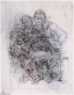 Leonardo Da Vinci-Study of St Anne, Mary and the Christ Child