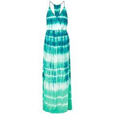 YOUNG FABULOUS & BROKE Nala Maxi Dress (1.245 BRL) ❤ liked on Polyvore featuring dresses, caribetide, tye dye dress, day to night dresses, green maxi dress, embellished dresses and maxi dress