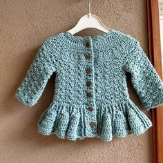 Crochet PATTERN - Soft Wool Peplum Cardigan (sizes baby up to 8 years)From monpetitviolon on Etsy: Mon Petit Violon Crochet Baby Sweater Pattern, Crochet Baby Sweaters, Baby Sweater Patterns, Crochet Baby Clothes, Baby Knitting Patterns, Baby Patterns, Crochet Patterns, Crochet Toddler, Baby Girl Crochet