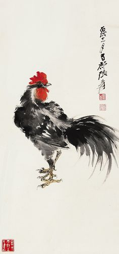 23 Moments To Remember From Famous Sumi-e Paintings Sumi E Painting, Rooster Painting, Rooster Art, China Painting, Japanese Painting, Japanese Art, Art Chinois, Tinta China, Chicken Art