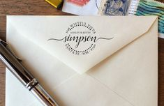Our custom-designed Modern Aviatrix Address Stamp is perfect for: formal invitations, scenic postcards, Weve Moved! announcements, and more!  It is