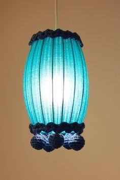 Blue Oval Bobble Lampshade by Deryn Relph - Radiance. Love the crochet trim!