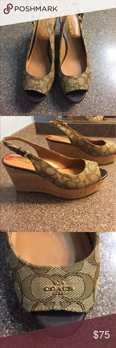 """New Coach Ferry Wedge Slingback Sandals New Coach Ferry Platform Wedge Sandals in Natural. Classic Coach logo pattern, gold hardware. Wedge approx 3.5"""". Size 9.5. Brand new, originally $145. Coach Shoes Wedges"""