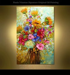ORIGINAL contemporary Summer Bouquet Abstract Floral oil painting / palette knife by Nizamas x hand painted ready to hang Oil Painting Flowers, Painting Edges, Abstract Flowers, Oil Painting Abstract, Knife Painting, China Painting, Burlap Canvas Art, Painting Burlap, Canvas Wall Decor
