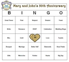 Custom 50th Anniversary Party Bingo Game by BuyMeSomeHappiness, $4.95
