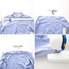 How to Transform a Men's Shirt into an Off-the-Shoulder Dress via Brit + Co
